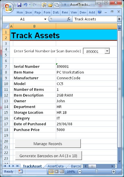 Screenshot of ConnectCode Asset Tracking Spreadsheet 1.0
